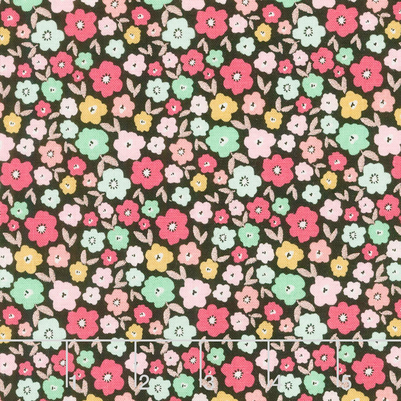Glam Girl - Small Floral Black Metallic Yardage