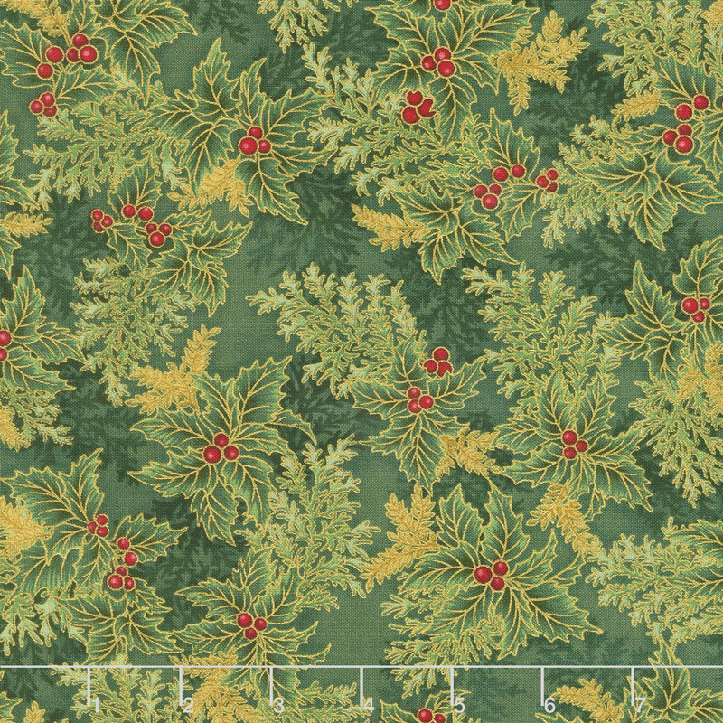 Robert Kaufman Holiday Flourish - Holiday Branches Holly Metallic Yardage