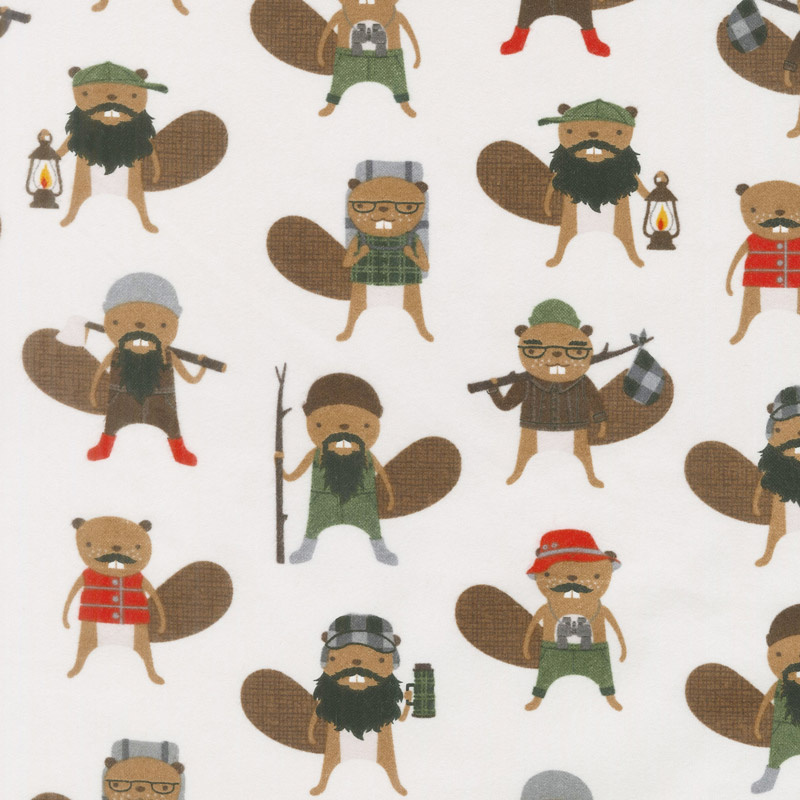 Campsite Critters Flannel - Beavers