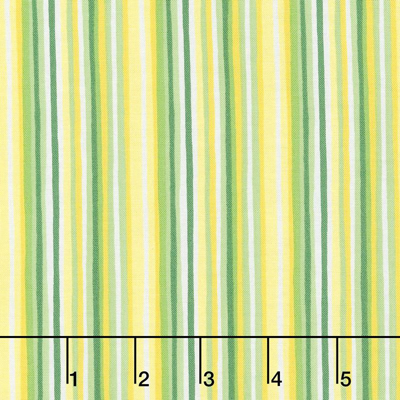 Splash of Lemon - Imperfect Stripes Green Yardage