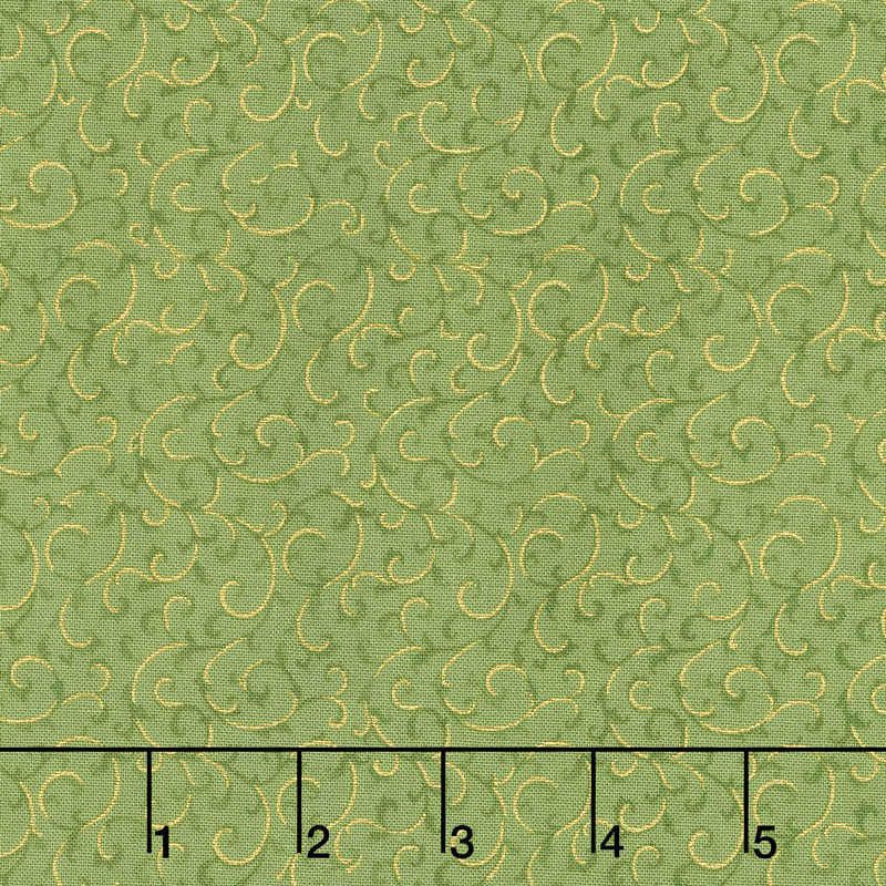 Gilded Blooms - Scrolls Green Metallic