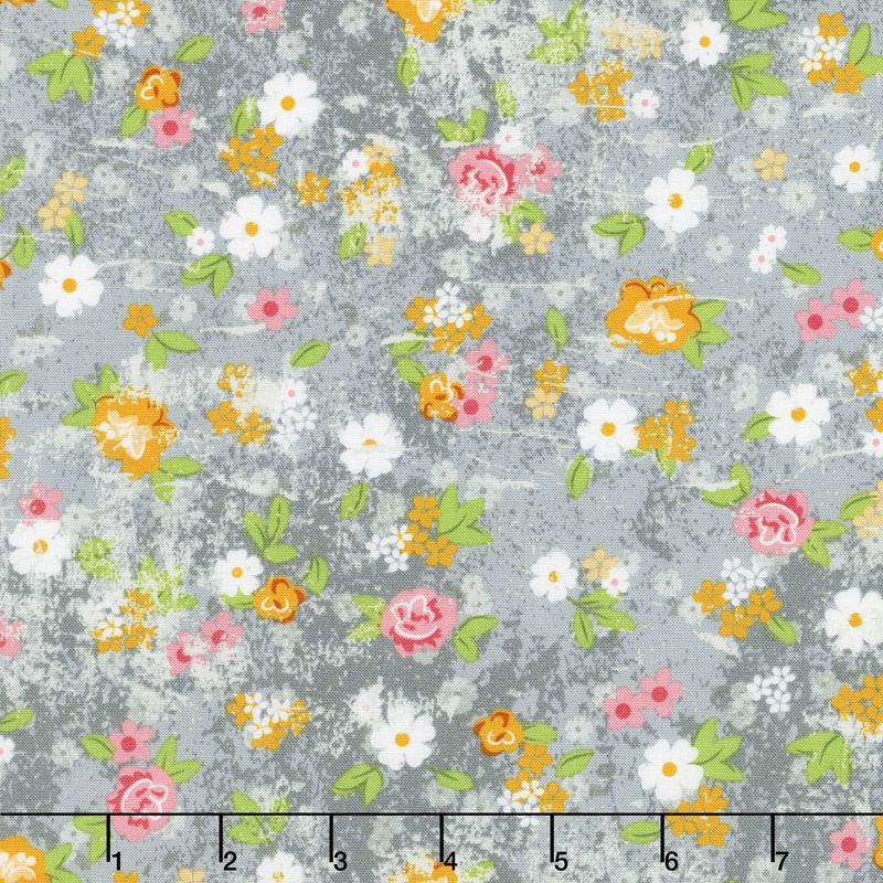 Roses and Arrows - Medium Floral Gray Yardage