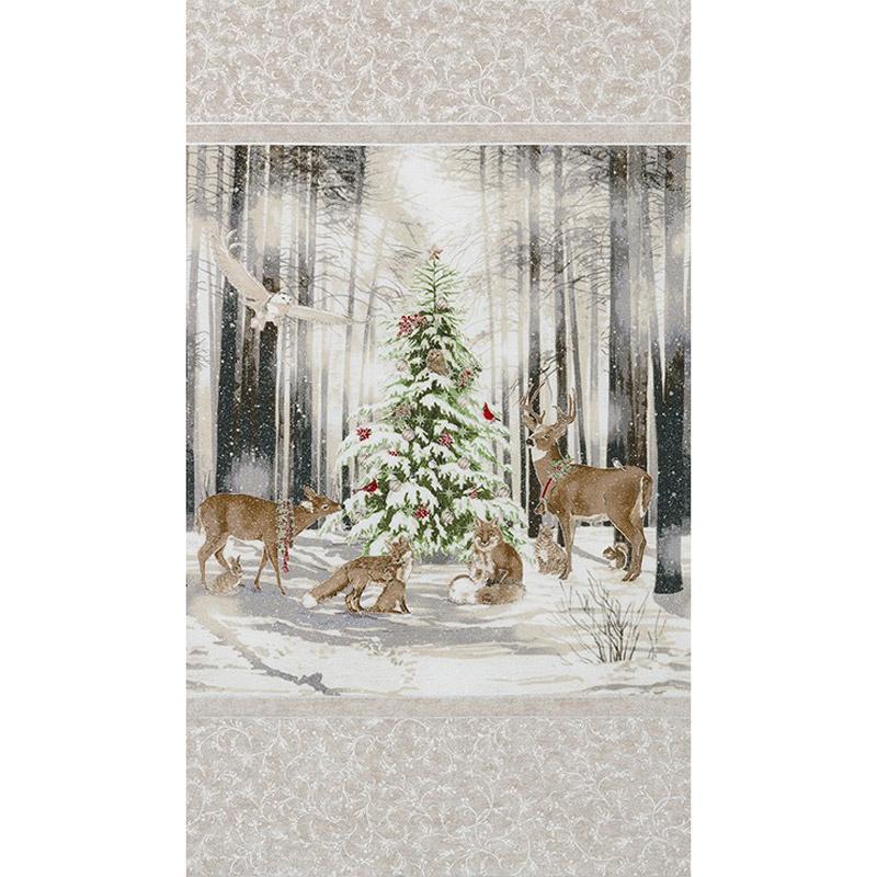 Winter White 3 - Ice Tree Animals Snow Ice Metallic Panel