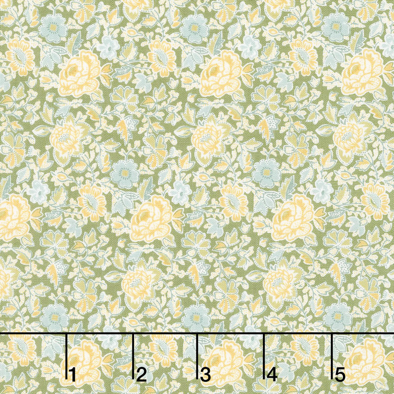 Garden Delights - Dotted Flowers Gold Yardage