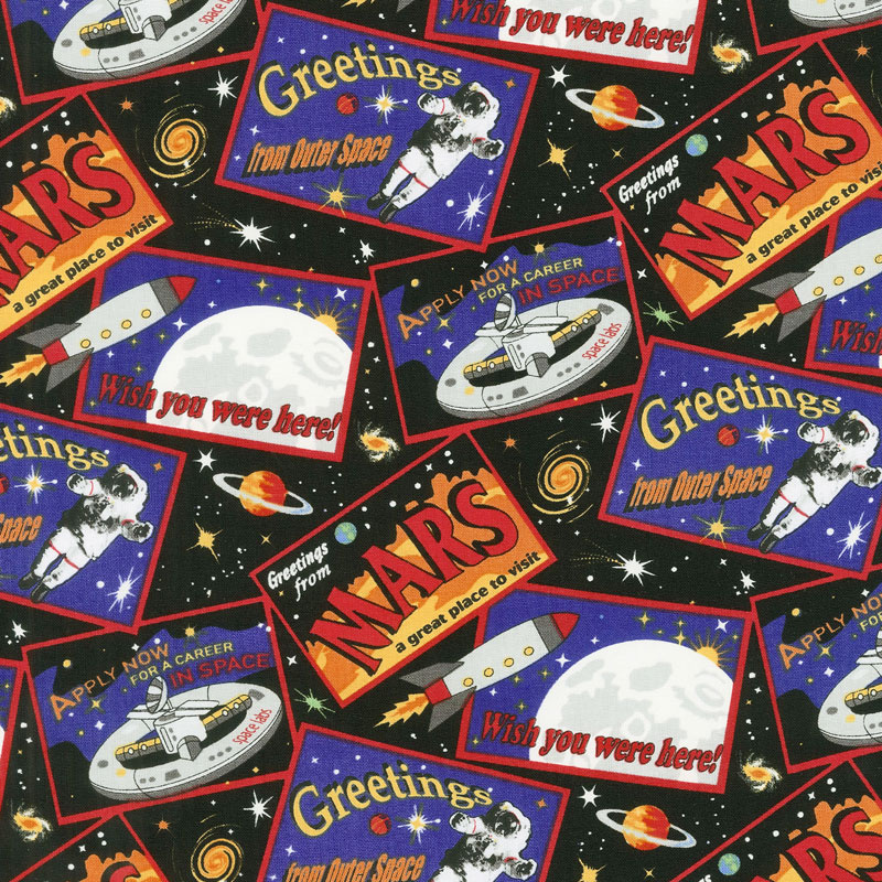 Spacewalk - Tossed Postcards Black Glow in the Dark Yardage
