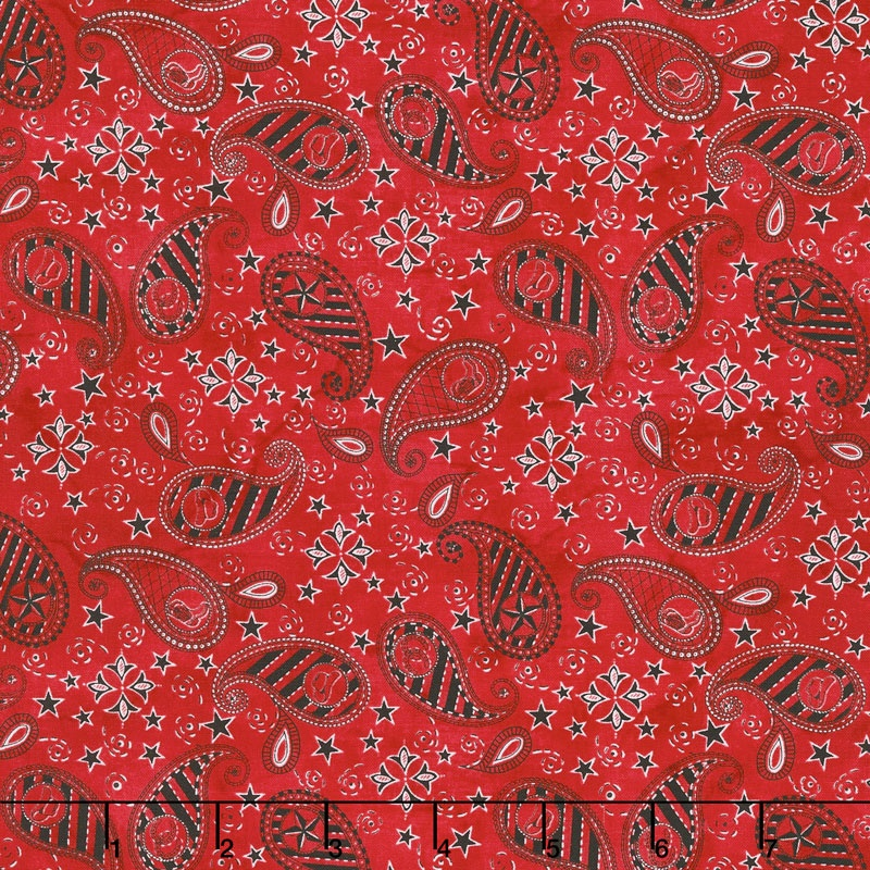 Rodeo Up - Bandana Print Red Yardage