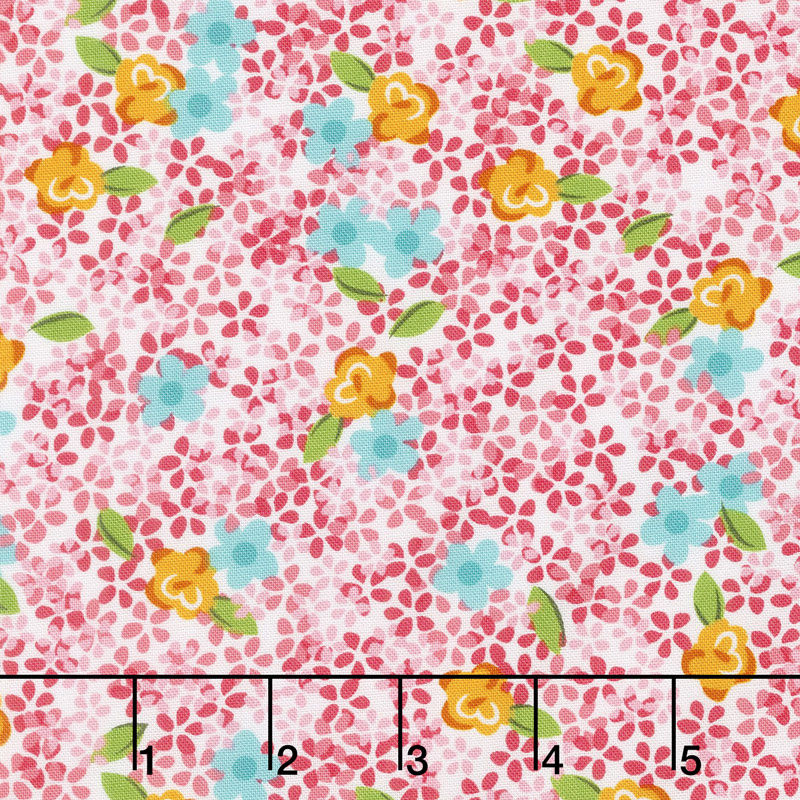 Roses and Arrows - Ditsy Floral Pink Yardage