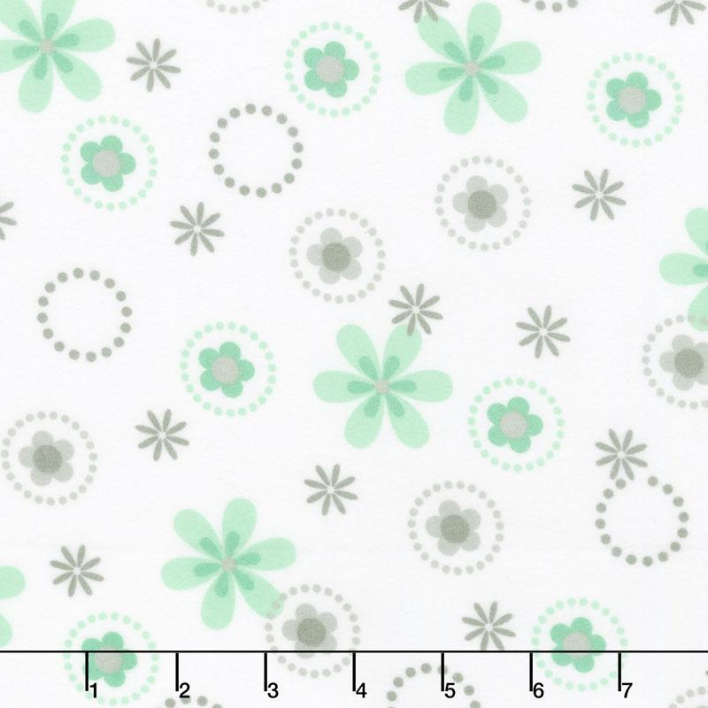 Cozy Cotton Flannels - Mint Flowers Mint Yardage