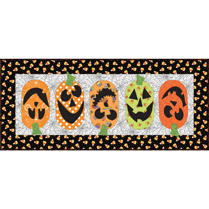 Pumpkin Patch Table Runner Kit with Broomhilda's Bakery Fabric from Maywood Studios