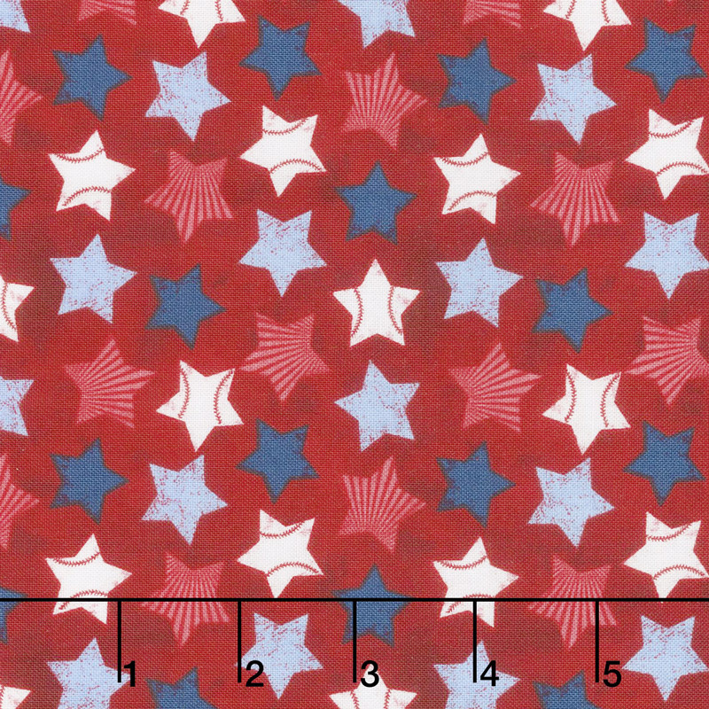Wilmington Prints 7th Inning Stretch - Stars Allover Red Yardage #82556