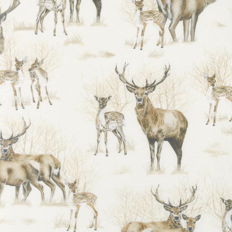 Animal Kingdom - Deer Light Natural Yardage