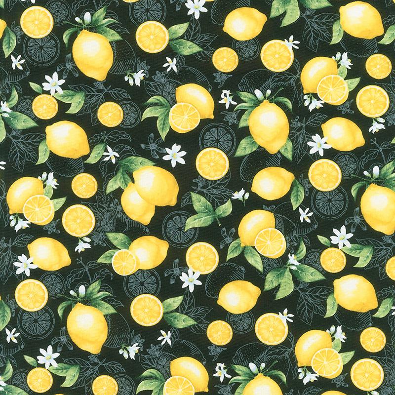 Splash of Lemon - Medium Etched Lemons Black Yardage