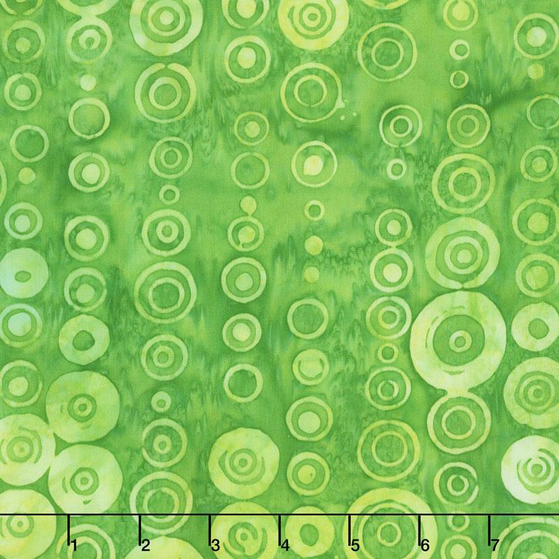 Artisan Batiks - Round and Around Circles Green Yardage