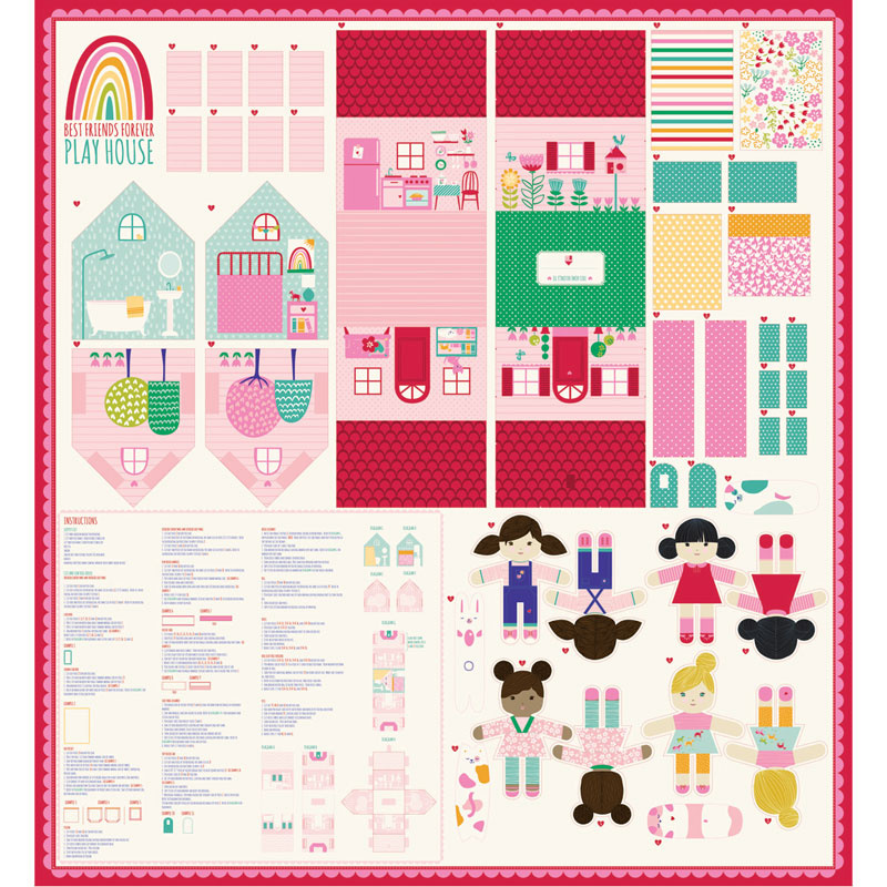 Best Friends Forever - Cut & Sew Playhouse 65 Inch x 60 Packaged Panel
