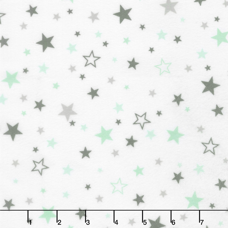 Cozy Cotton Flannels - Cool Mint Stars Mint Yardage
