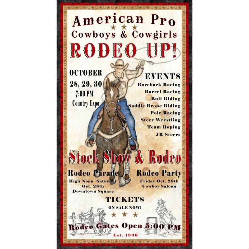 Rodeo Up - Rodeo Poster Ivory Panel