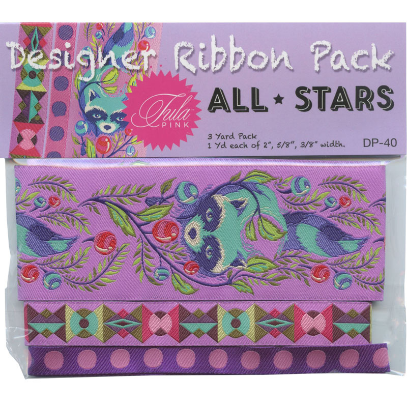 Tula Pink All Stars  Raccoons Designer Ribbon Pack