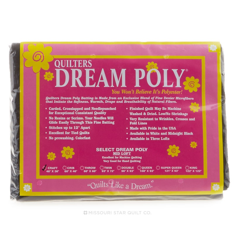 Quilters Dream Poly-Select Black Batting; Craft 46 x 36