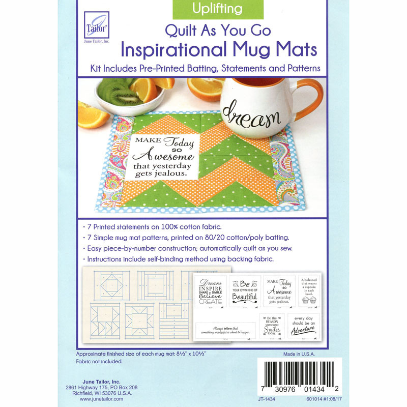 7 Uplifting Quilt As You Go Daily Inspirational Mug Mats Kits, fabric not included