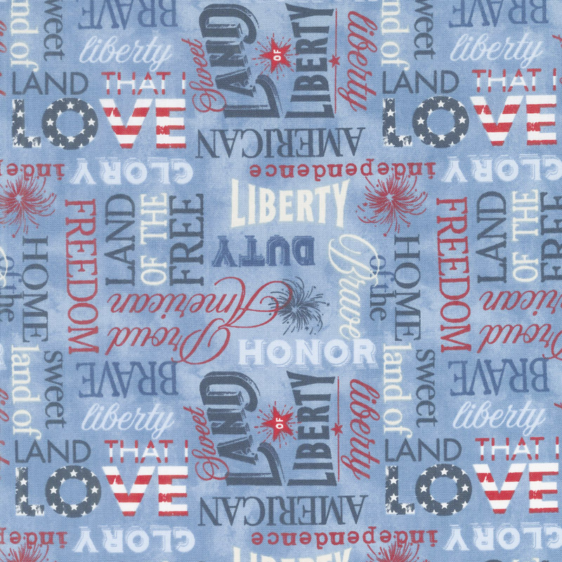 American Valor - Words Allover Blue Yardage