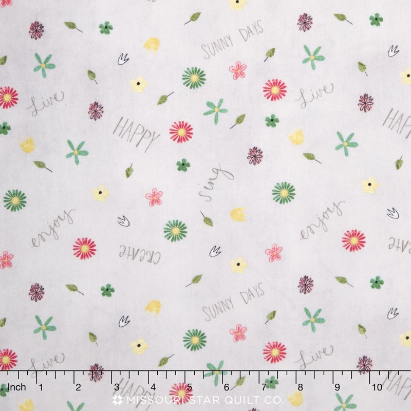 ON THE ROAD AGAIN FLORAL WITH SENTIMENTS GREY 54508945 Wilmington Prints