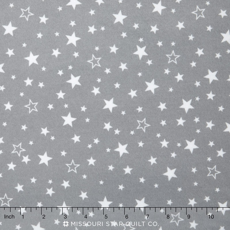 Flannels - Stars Grey Yardage