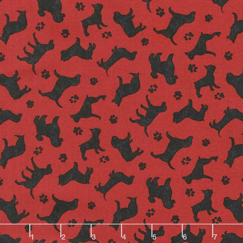 Faithful Friend - Mini Dog Silhouettes Red Yardage