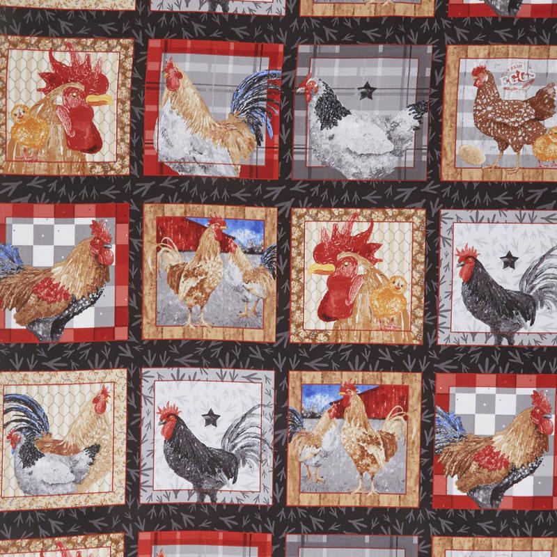 Chicken Scratch - Chickens in Blocks Black Yardage