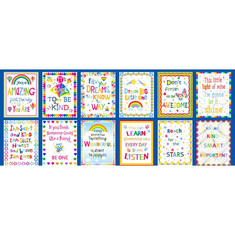 Emelia's Dream - Inspirational Blocks Blue Panel 9411-77