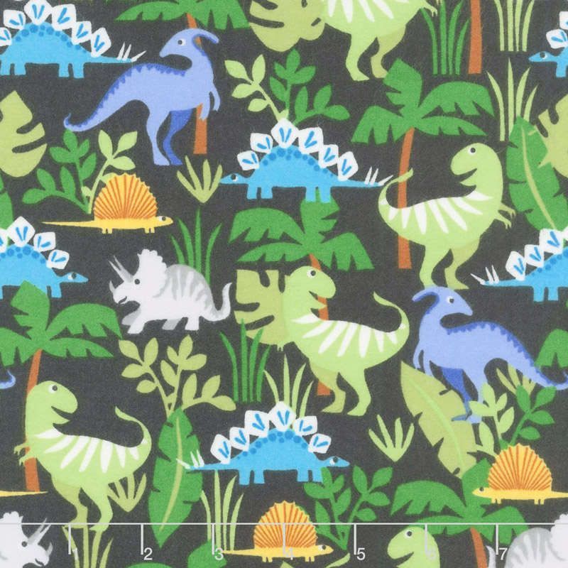 Cubby Bear Flannel - Dino Friends navy Yardage