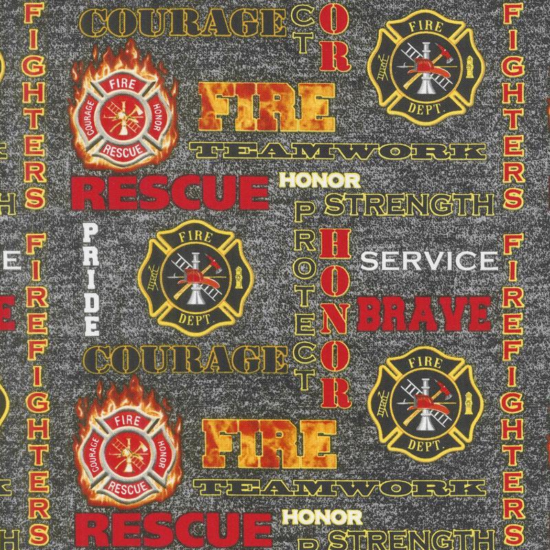 Firefighter-Words w/logos on Black Heather