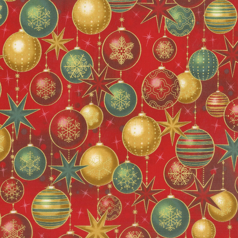 Winter's Grandeur 6 - Holiday Ornaments Red Metallic Yardage