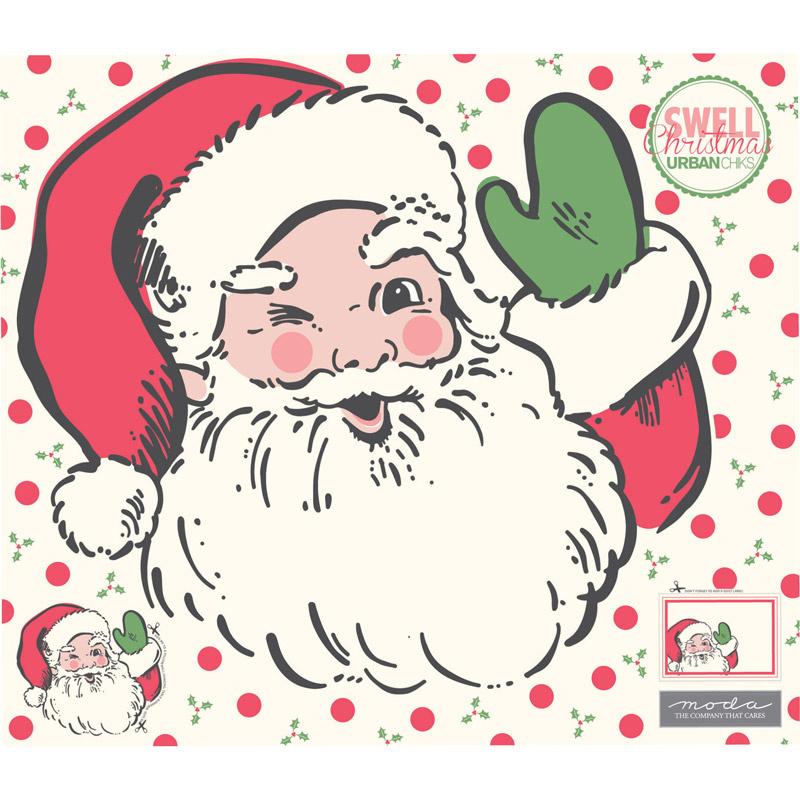 Swell Christmas - Santa Applique Digitally Printed Panel