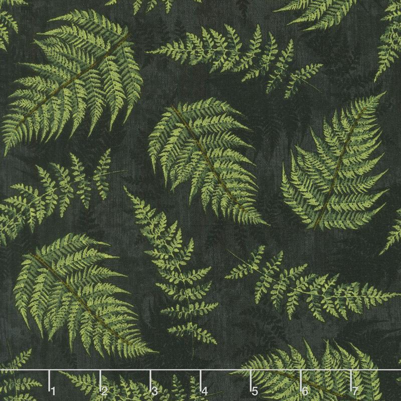 Chantrell - Fern Leaves Black Yardage