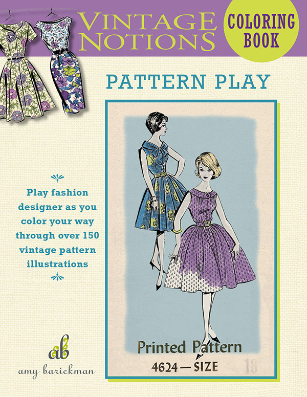 Vintage Notions Coloring Pattern Book by Amy Barickman