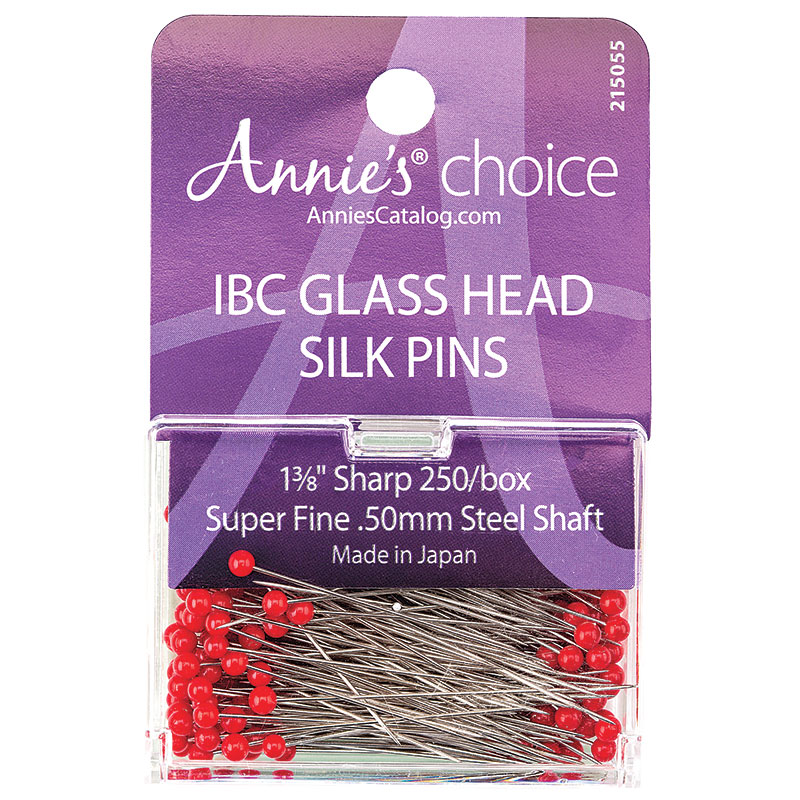 IBC Glass Head Silk Pins 1 3/8