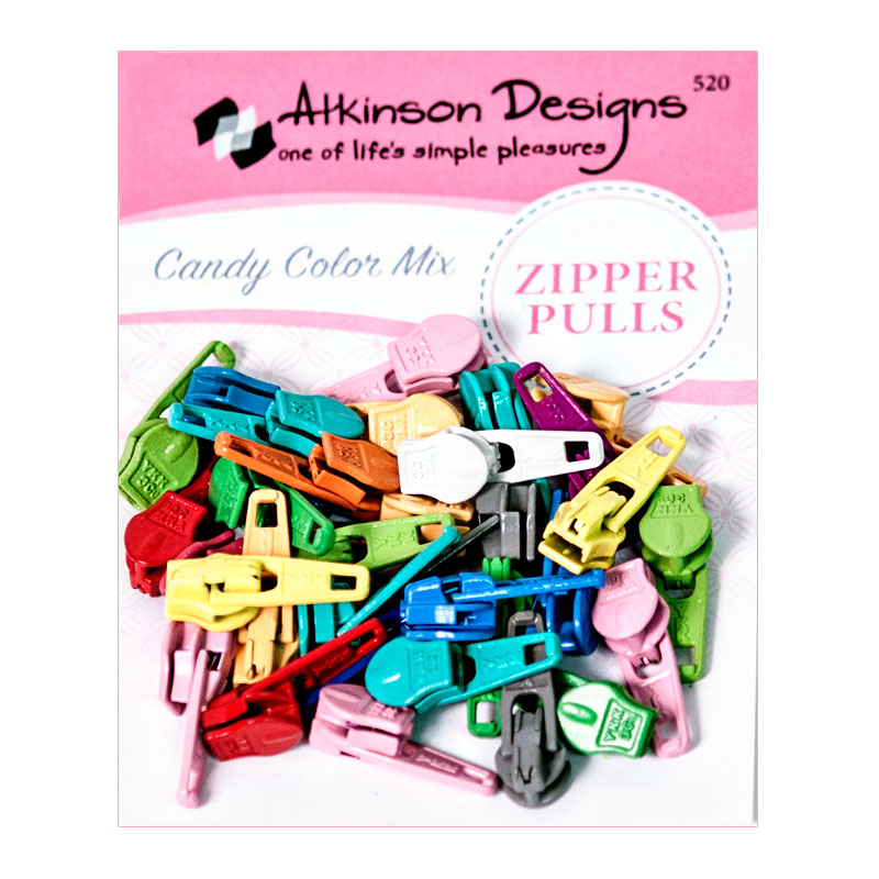 Atkinson Designs Zipper Pulls Candy Clr Mix 30ct ATK-520