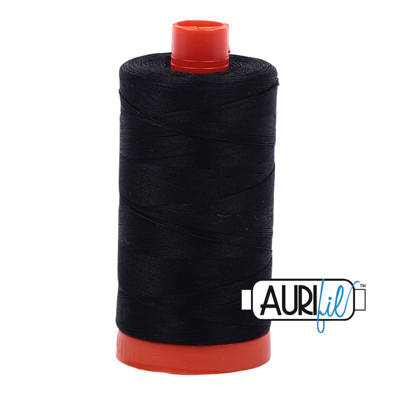 Aurifil 2692 Black Cotton Mako Thread 50wt 1300m #2692