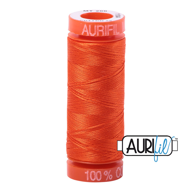 Aurifil Mako 50wt Solid 219yds - NEON ORANGE 1104