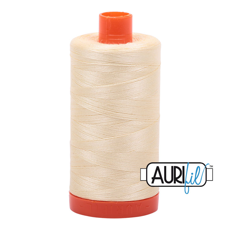 Aurifil 2110 Cotton Mako Thread 50wt 1300m Light Lemon
