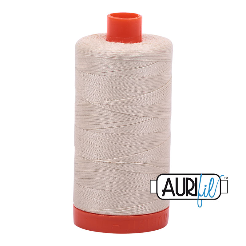 Aurifil Cotton Mako Thread 50wt 1300m: Light Beige 2310