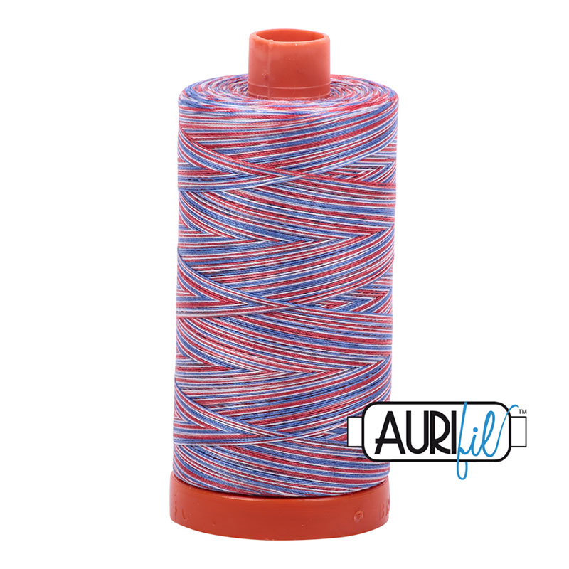 Aurifil Variegated Red/White/Blue Cotton Thread - 3852