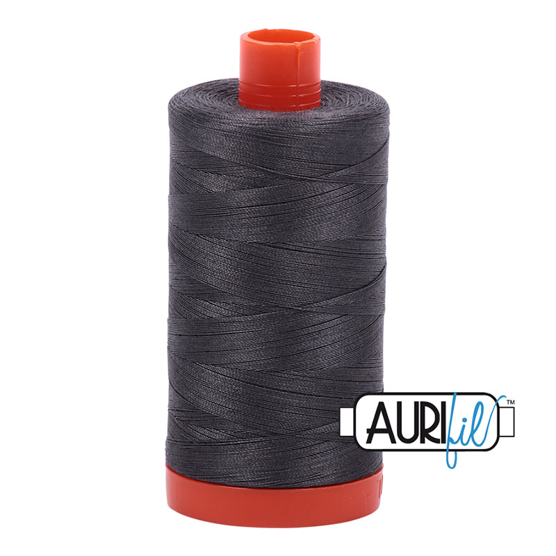 Aurifil Cotton Mako Thread 50wt 1300m: Pewter Dark Grey - 2630