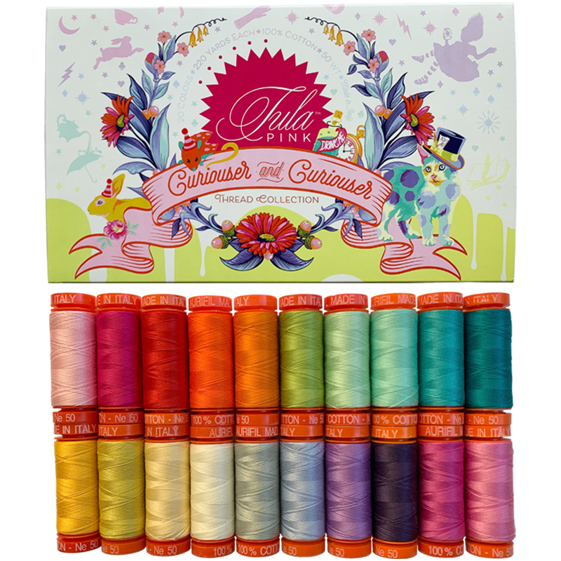 PRE-SALE: Curiouser and Curiouser 50wt Aurifil Thread Collection 20 pieces