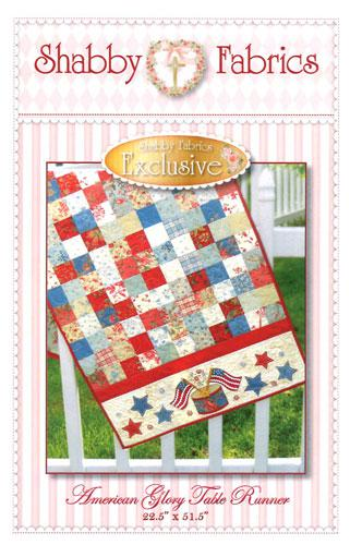 American Glory Table Runner (Jelly Roll) Pattern, designed by Shabby Fabrics, 18 1/2 x 51 1/2