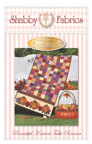 Bountiful Harvest Table Runner Jelly Roll Pattern designed by Shabby Fabrics, 12 1/2 x 53