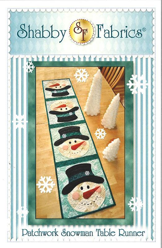Patchwork Snowman Table Runner