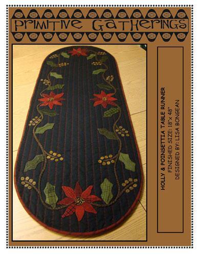 Holly & Poinsettia Table Runner Pattern