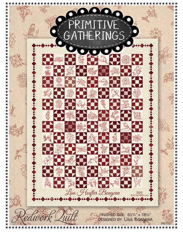 Redwork Quilt Pattern and Panel