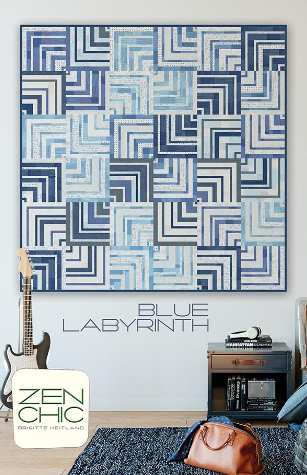 Zen Chic Blue Labyrinth Pattern